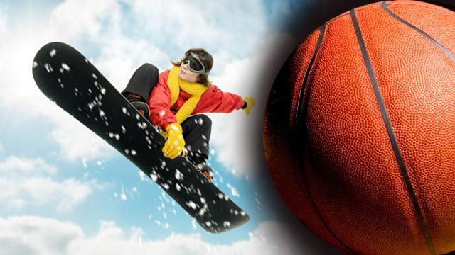 Dunken im Schnee – Snowboard-Basketball